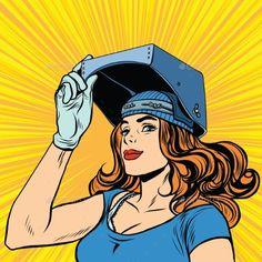 Retro Girl Welder Job Construction
