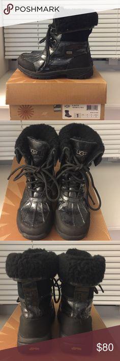 🌨Ugg Australia K Butte Kids Snow Boots🌨 Girls Black Patent Leather w/ Glitter Waterproof Boots UGG Shoes Rain & Snow Boots