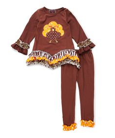 1135cdfb7b08e Brown Cheetah Turkey Ruffle Pant & Top Set