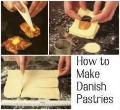 Learn how to make delicious Danish pastries at home. Includes suggestions for fruit and custard fillings, step-by-step instructions, and a recipe for easy glace icing. Mushroom Puff Pastry Recipe, Puff Pastry Recipes, Pastries Recipes, French Pastries, Danish Pastries, Puff And Pie, Custard Filling, Danish Food, British Baking
