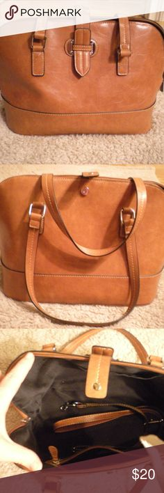 Brown/Camel purse Gently used brown/camel purse.  Silver accents.  Approximately 14W x 9H x 7D. No outside pockets.  Two inside slip pockets.  One inside zip pocket.  Longer clip-on shoulder strap included. Bags Satchels