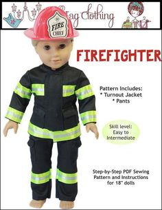 Doll Tag Clothing Firefighter Outfit Doll Clothes Pattern 18 inch dolls such as American Girl®   Pixie Faire