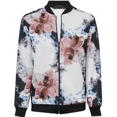 Blue Watercolour Floral Print Bomber Jacket ($19) ❤ liked on Polyvore featuring…