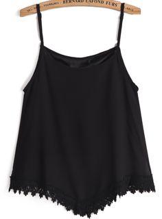 Black Spaghetti Strap Lace Vest 14.33