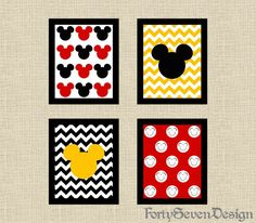 Set of 4 Mickey Mouse Black White Red & Yellow Chevron Printable Wall Art by FortySevenDesign, $10.00
