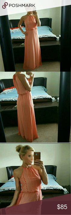 Tangerine orange maxi dress This dress is beautiful and great condition tangerine orange high neck cut out back you can tie. Boutique 9 Dresses Maxi