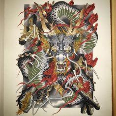 A3 #龍 #dragon #painting #drawing #copic #tattoo #tattoos #irezumi #刺青 #wabori #和彫 #strictlytattoostudio #prahran #melbourne #melbournetattoo #australia #strictlytattoogallery #vancouver #canada #horiryutattoofamily #japan #japanese #japaneseart #japanesetattoo #japanesetattooist