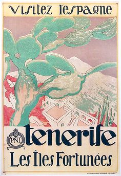 1925 Visit Spain, Tenerife, The lucky Islands, canary islands vintage travel poster