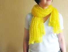 Yellow mohair shawl silk mohair lace stole hand knit by Renavere, $50.00