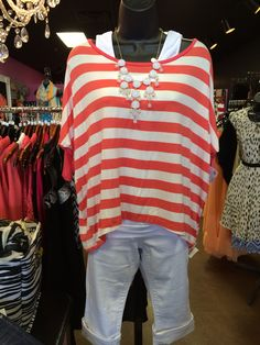 Cute coral and nautical! New this week. Vogue Boutique Freeport,IL