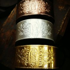 Virgen de Guadalupe Bracelets in Pink Gold, Silver & Gold Plate!!