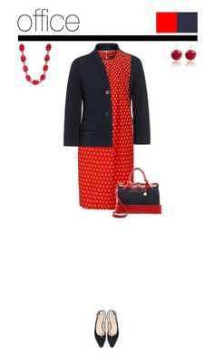 Office outfit: Navy - Red by downtownblues on Polyvore #officewear  #polkadot  #polkadotdress