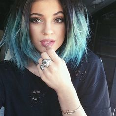 """Kylie Jenner: We were convinced Kylie would be Kim Kardashian's """"something blue"""" when she revealed this aqua hair on Instagram before the wedding of the year! Source: Instagram user kyliejenner"""