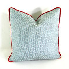 BLUE PILLOW COVER  18 x 18 Silk Quilted Fabric and Red by Annsliee, $50.00