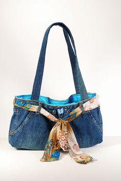 Recycled Denim Jean Purse. $25.00, via Etsy.