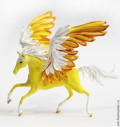 Yellow Pegasus Horse Skulpture Figurine Art by DemiurgusDreams, $90.00