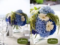 Nice Contrast of textures and colors blue reception wedding flowers,  wedding decor, wedding flower centerpiece, wedding flower arrangement, add pic source on comment and we will update it. www.myfloweraffair.com can create this beautiful wedding flower look.