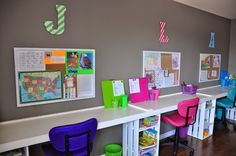 Color coding can also help students keep track of which supplies are theirs. | 27 Ridiculously Cool Homeschool Rooms That Will Inspire You