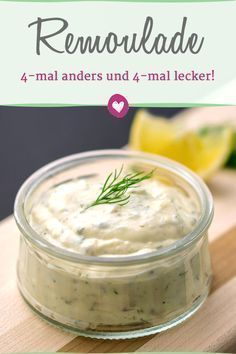 Make tartar sauce yourself: 4 recipes for delicious variations- Remoulade selbst machen: 4 Rezepte für leckere Varianten Remoulade (and the mayonnaise required for it) can be quickly made and varied yourself. Dip Recipes, Sauce Recipes, Seafood Recipes, Cooking Recipes, Bread Recipes, Homemade Tartar Sauce, Tartar Sauce Recipe With Dill, Fish Dipping Sauce Recipe, Barbecue Sauce