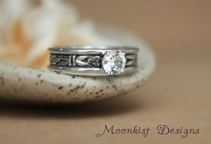 Romantic Art Deco Forget-Me-Not White Sapphire by moonkistdesigns