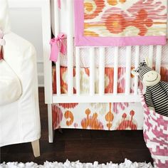 Urban Ikat in Fuchsia Crib Skirt