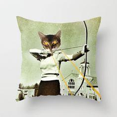 battle-cat  Throw Pillow by Post Haste Art - $20.00