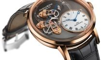 """Arnold & Son Royal TES Tourbillon with movement displayed """"inside-out"""" and sapphire bridge, causing the movement to appear as if """"floating."""""""