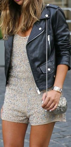 Sequined #Romper With Black Leather #Jacket