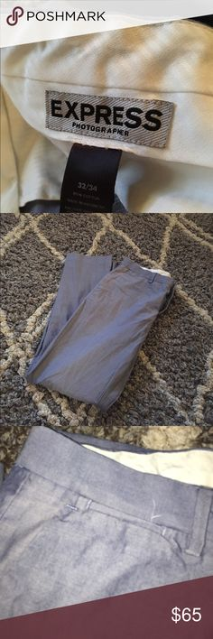 Express Men Blue Grey Dress Pants Another pair of my husbands work pants that he shrunk. So again these are a 30 more than a 32. Everything else is fine. He literally paid full price and shrunk them after ONLY ONE USE/wash.  But they will be perfect for somebody else!!! The third picture is the best picture of the color.  and they are 100% COTTON. Express Pants Dress