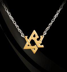 Jane Basch Designs - �Love� Gold Jewish Star on Sterling Silver Necklace , $210.00 (http://store.janebasch.com/love-gold-jewish-star-on-sterling-silver-necklace/)