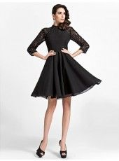 Sexy A-line High-neck Knee-length Satin And Lace Cocktail Dress