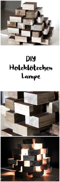 DIY Holz Lampe aus Holzklötzen || Dekoration für Wohnzimmer, Schlafzimmer || DIY light made of wood