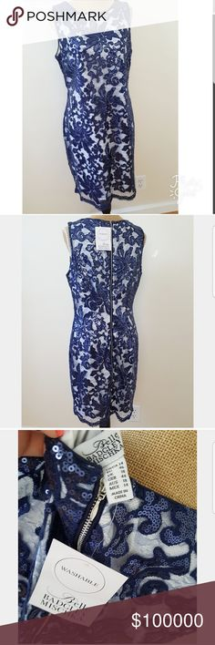 NWT Belle Badgley Mischka Blue Sequins Dress Gorgeous brand new. Blue sequins with sheer overlay and white lining beneath. Full contrast zipper down the back. Pretty hem detail. Perfect condition. No missing sequins. More photos will be uploaded soon. size 14 Badgley Mischka Dresses