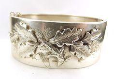 Victorian Silver CUFF Bracelet Bangle Raised OAK LEAF Detail 1884