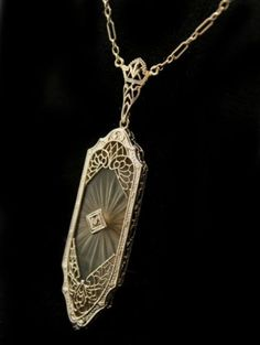 Fine-Vintage-Diamond-Rock-Crystal-14k-White-Gold-Filigree-Pendant-Necklace