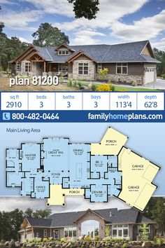 Craftsman House Plan - One Story Ranch with Northwest Influences 3 Beds 3 Baths 3 Cars a Best Seller The best in both Craftsman and Ranch style house plans boasts a welcoming columned front porch. Garage House Plans, House Plans One Story, Craftsman Style House Plans, Ranch House Plans, House Floor Plans, Car Garage, Craftsman Ranch, Murphy Bed Plans, Ranch Style Homes