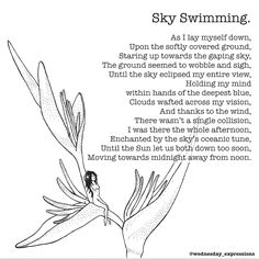 Sky Swimming | Wednesday Expressions on Patreon  Poem Illustrated & Written by Nina LT  Online Store at society6.com/wednesday_expressions Please check it out and leave a like on what you love!  Got an idea that you would like to see illustrated, or a drawing of mine you want on my store? Please leave a comment below . . . . . . . #wednesdayexpressions #society6 #patreon #prints #poetry #illustrator  #onlineshop #shoponline #shop #store #illustration #art #handmade #ink #quotes #qotd #potd…