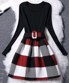 Women's Chic Belted Long Sleeve Scoop Neck Plaid Dress