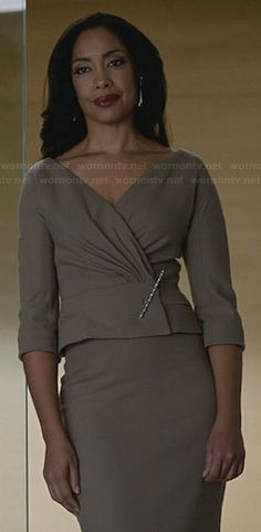 Jessica's taupe jacket and skirt on Suits.  Outfit Details: http://wornontv.net/30566/ #Suits