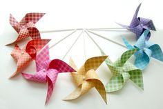 Pinwheels GINGHAM RAINBOW set of 7 mini pinwheels... These would be adorable for table decor. Kids can take them when they leave as a favor.