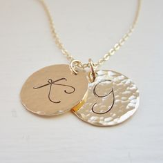 Two gold initials personalized gold necklace by KGarnerDesigns, $36.00