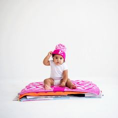 Personalized Puzzle Knit Hat + Matching Blanket - such a great gift for your winter baby!