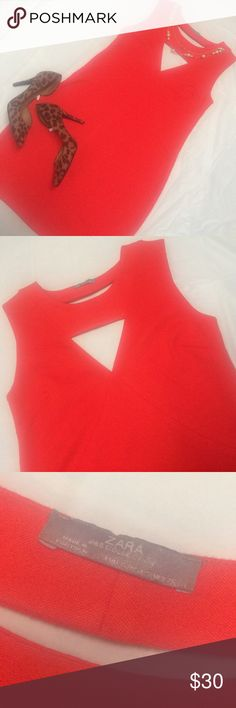 Zara W&B Collection Cutout Dress Size small but realistically a medium. Orange cutout dress on the back and front. In perfect condition! Zara Dresses Mini
