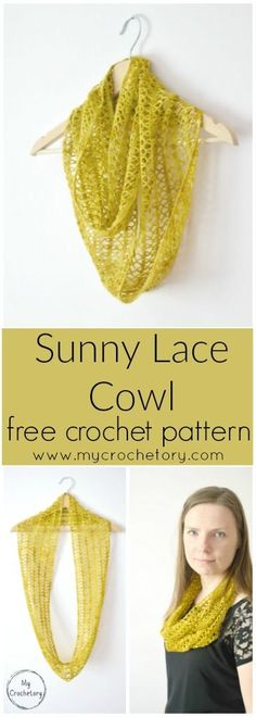 Light and airy, a great beginner lace crochet project that is simple to memorize and quick to finish. Treat yourself to a bit of luxury with an elegant crochet Sunny Lace Cowl. Made with one hank of yarn, it makes a great gift for your loved ones. Crochet Lace Scarf, Crochet Cowl Free Pattern, Crochet Beanie, Easy Crochet Patterns, Crochet Yarn, Free Crochet, Crochet Summer, Simple Crochet, Crochet Scarfs