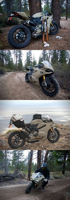 I've got an image of someone pulling up to the check station with a 12 point buck strapped across the back stuck in my head. Ducati 1199 Panigale TerraCorsa Off-Road Superbike. Triumph Motorcycles, Cool Motorcycles, Ducati Custom, Custom Bikes, Motorcycle Design, Motorcycle Gear, Bike Motor, Yzf R125, Ducati 1199 Panigale