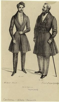 VIRAGO — Men's fashion ca. 1830: Coats