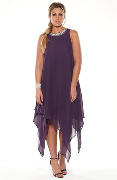 Beaded neckline party dress/rpurple Style No: ED5106Faux silk party dress with a heavily beaded neckline feature. This dress has multi layers and a flattering hanky hemline. #2013 #plussize
