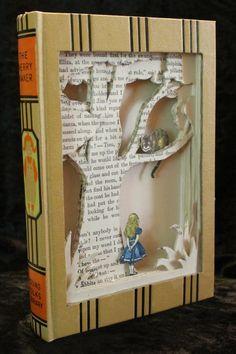 """Alice in Wonderland"" book sculpture (artist: Jodi Harvey-Brown) Folded Book Art, Paper Book, Book Folding, Paper Art, Paper Crafts, Old Book Crafts, Tunnel Book, Book Page Art, Recycled Books"
