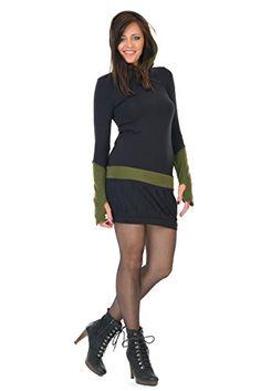 d6133bbf00f0 3Elfen Hoodie dress winter black fleece gauntlets green