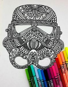 This is a wonderful Coloring page for grown Ups of Star Wars, exclusive . Use your imagination with the color therapy and to color with creativity!
